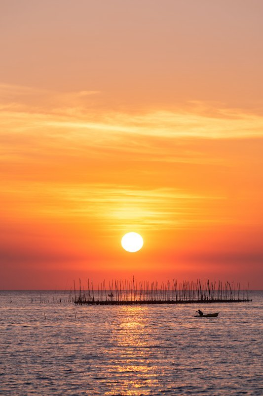 Oyster farm in the sea and beautiful sky sunset background , sun and clouds Landscape nature ,seascape at chonburi  province  Thailand